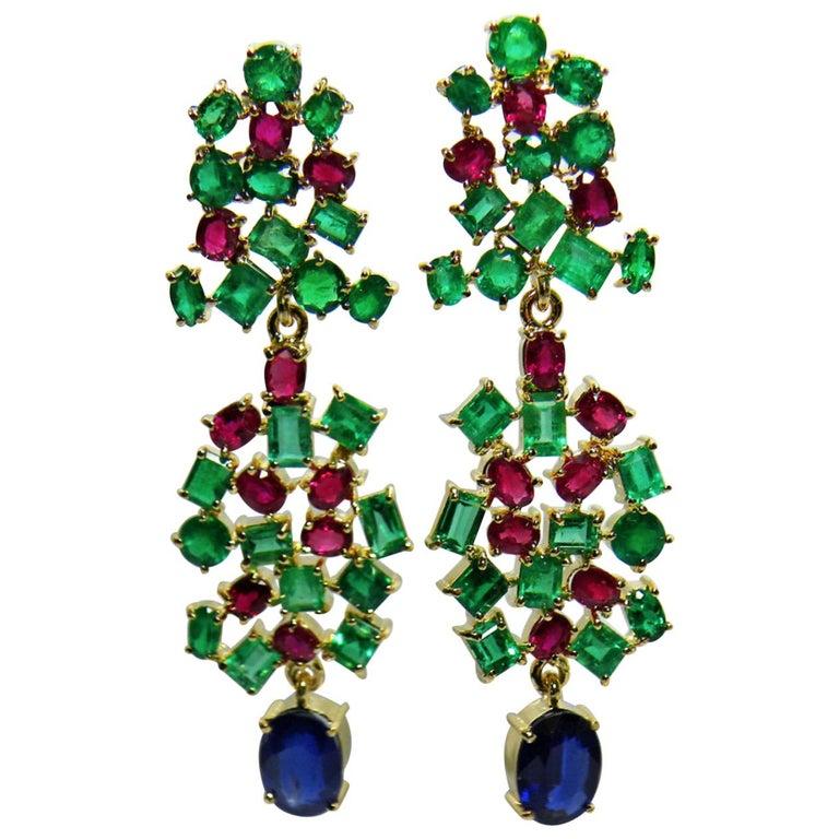19.40cts Vintage Style Emerald Ruby & Sapphire Dangle Earrings 18K