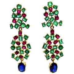 19.40 Carat Burma Sapphire Ruby and Colombian Emerald Dangle Earrings 18 Karat