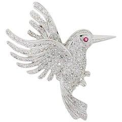 Round Diamond Pave Flying Bird Pin