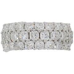 Cushion Cut Diamond Three-Row Wide Band