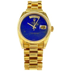 Rolex Yellow Gold Day-Date Smooth Bezel Lapis Lazuli Dial President Wristwatch