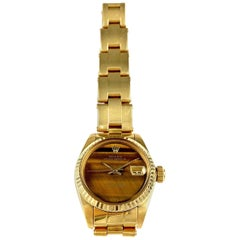 Rolex Ladies Yellow Gold Datejust Tiger's Eye Dial Datejust Automatic Wristwatch