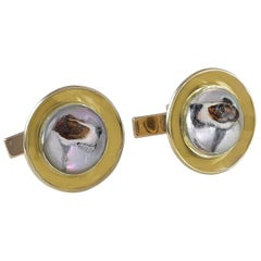 Gold and Crystal Terrier Cufflinks