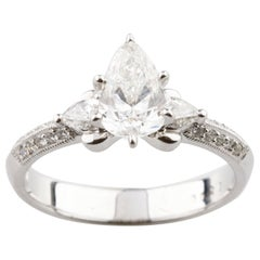 1.36 Carat Pear Shape Diamond 18 Karat White Gold Engagement Unity Ring