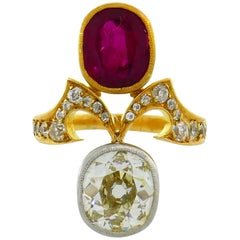 Diamond Ruby Yellow Gold Toi et Moi Ring, Victorian French Antique