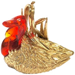 Vintage Fire Opal and Gold Bird Charm Pendant