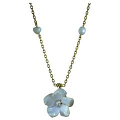 Antique Natural Pearl Flower Necklace with Partial Station Chain