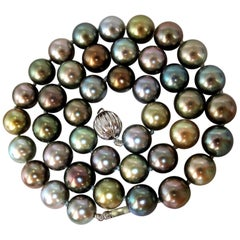 Tahitian Multicolor Natural Pearl Necklace 41 Pearls