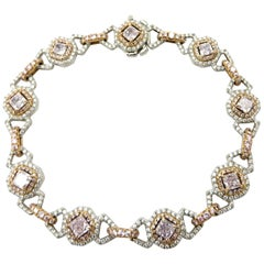 GIA Certified Radiant and Round Cut Pink Diamond Platinum and Rose Gold Bracelet