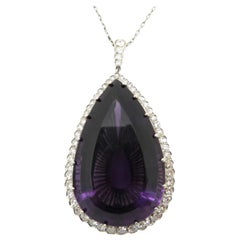 Estate Antique Platinum Large Pear Amethyst Halo Diamond Necklace Pendant Chain