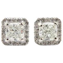 Estate 14 Karat White Gold Diamond Halo Cushion and Round Earrings