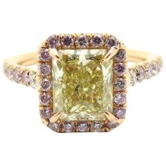 18 Karat 2 Carat Yellow Radiant Cut Diamond and Pink Diamond Halo Ring