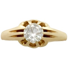 Diamond and Yellow Gold Solitaire Ring