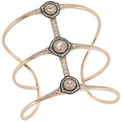 18 Karat Gold Monan 1.76 Carat Diamond Cuff Bracelet