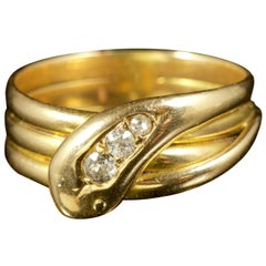 Antique Edwardian Diamond Snake Ring Dated 18 Carat, Birmingham, 1905