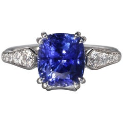 Robert Vogelsang 4.01 Carat Blue Sapphire Diamond Platinum Engagement Ring