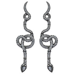 Yellow Gold Diamond Pear Shape Rose Cut Diamond Snake Cocktail Earrings
