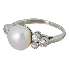 Art Deco Natural Saltwater Pearl and Old Cut Diamond White Gold Ring