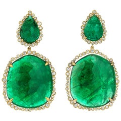Gold Diamond Slice Cut Emerald Cocktail Earring