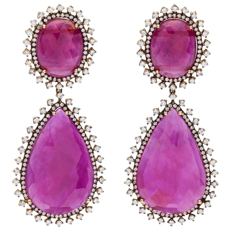 Rose Gold Diamond Slice Ruby Drop Earrings