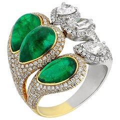 Gold Pear Shape Diamond Pear Shape Cabochon Emerald Cocktail Ring