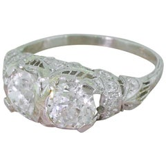 Tiffany & Co. 2.38 Carat Old Cut Double Diamond Platinum Ring