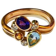 Multicolored Gemstone and Diamond Tutti Frutti Ring