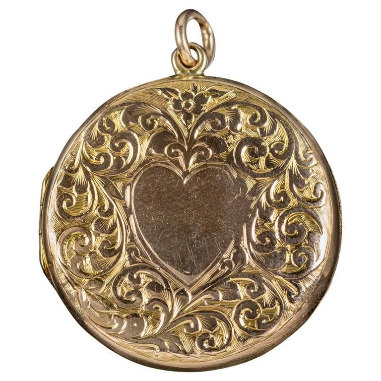 Antique Edwardian Round 9 Carat Gold Heart Locket Dated 1908