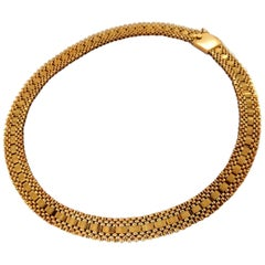 7-Tier Curbed Band Link Gold Necklace 14 Karat Vintage