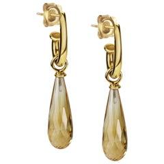KATA 18k Yellow Gold Hoop Earrings with Citrine Detachable Ear-Pendants