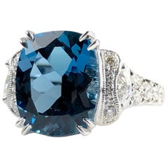 5.79 Carat Cushion Cut London Blue Topaz and 0.52 Carat Diamond Cocktail Ring