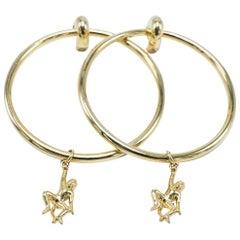 18K Gold Plated Monkey Hoop Earring J DAUPHIN