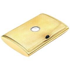 14k YG Vintage Cigarette/Money Holder/Case/Box With Sapphire Cabochon Button