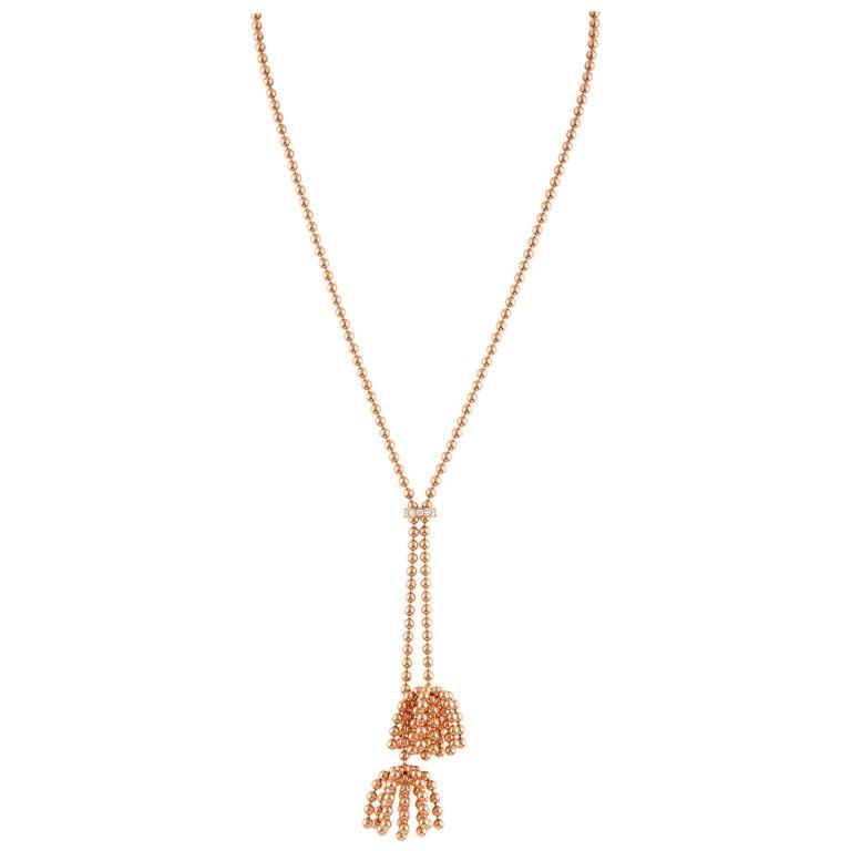 """Cartier 18 Karat Rose Gold Paris """"Nouvelle Vague"""" Diamond Necklace"""