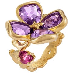 Chanel 18 Karat Yellow Gold Amethyst and Tourmaline Flower Ring
