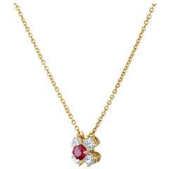 Tiffany & Co. 18 Karat Yellow Gold Ruby Necklace