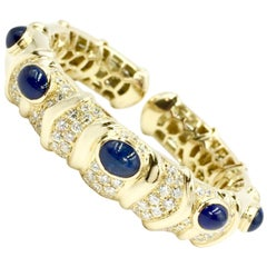 Giovane Blue Sapphire and Diamond 18 Karat Cuff Bracelet