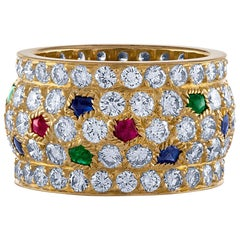 Cartier 18 Karat Yellow Gold Sapphire, Emerald, Ruby and Diamond Ring