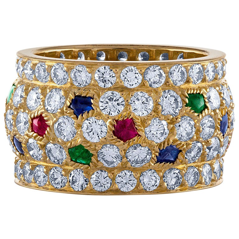 Cartier 18 Karat Yellow Gold Sapphire, Emerald, Ruby and Diamond Ring For Sale