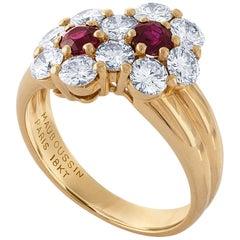Mauboussin 18 Karat Yellow Gold Ruby and Diamond Ring