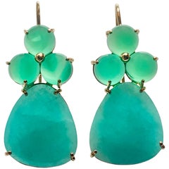 Solid Yellow Gold Dangle Drop Green Agate and Amazonite Earrings