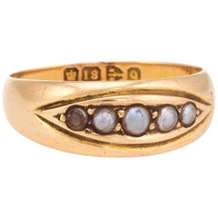 Antique Seed Pearl Gypsy Band Victorian Ring 18 karat Gold Chester Vintage