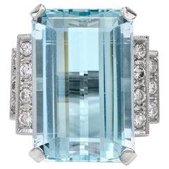 1950s Aquamarine Diamond Platinum Cocktail Ring
