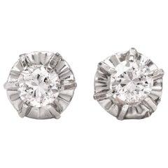1950s Retro Diamond Gold Stud Earrings