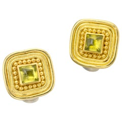 Peridot 22 Karat Gold 18 Karat Gold Yellow Gold Clip Earrings