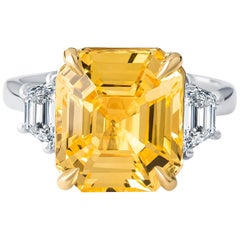 9.99 Carat No Heat Yellow Sapphire Ring, GIA Certified, with Side Diamonds