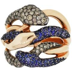 Diamond and Sapphire Open Freeform Snake Ring