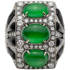Anna Hu Jade, Onyx and Diamond Ring