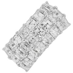 Asscher Cut Diamond Three-Row Band