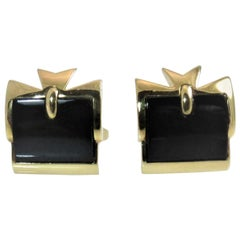 18 Karat Yellow Gold and Black Onyx Vacheron Constantin Cufflinks in Box